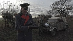German Officer and Kubelwagen (21.Infanterie Division) Tags: 21infanterie ww2 wwii citroen u23 german truck panzerfaust wehrmacht chris wilson christopher walk on supporting artist uniform uniforms period clothing hire documentaries documentary reconstruction reconstructions film tv movie unit heer military war second world reenactment living history mg42 stahlhelm east prussia easternfront 1944 1945 pionier pioniere engineer panzer panzerschreck kubelwagen splinter parka