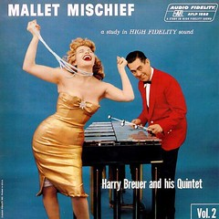 Mallet Mischief (kevin63) Tags: harrybraure album cover mallet mischief woman xylophone quintet high fidelity slip showing necklace blonde gold dress redjacket