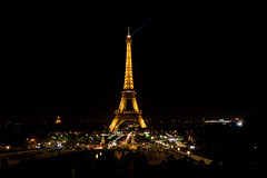 The Eiffel Tower at night from Trocadero (nicktoumpelis) Tags: lights france urban paris tower landmark toureiffel eiffel clearsky city nightlife night paris16earrondissement îledefrance fr