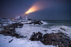 Storm at Night (BenjaminMWilliamson) Tags: art attraction beam capeelizabeth coast coastal destination gifts historic icon iconic image landmark landscape lighthouse me maine newengland night ocean photography portlandheadlight prints scenery scenic sea seascape snow storm surf tourism tourist waves winter