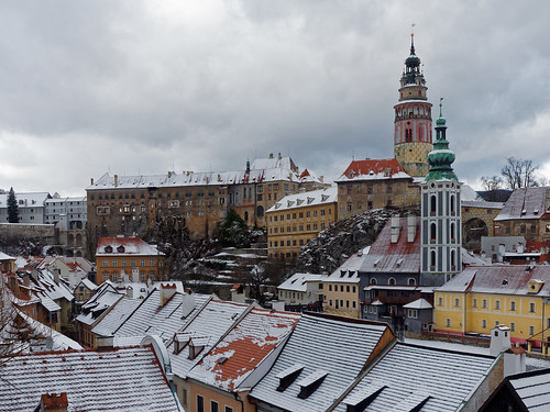 A snowy winter day at Cesky Krumlov, Czech Republic