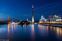Rheintower Dusseldorf (ChrisKuik) Tags: city chris port river deutschland town europa europe downtown nightshot alemania nrw dusseldorf hafen fluss rhine rhein allemagne nordrheinwestfalen nachtaufnahme langzeitbelichtung rheinturm medienhafen kuik capitalcity longtermexposure northrhinewestfalia mediaharbour rhinetower rheintower mediaharbor deusseldorf goldstaraward dragondaggerphoto landeschauptstadt