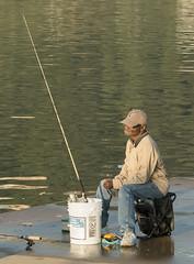fishing on the ohio river (jimbobphoto) Tags: fish river bucket fishing rod stool ohioriver