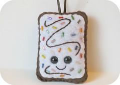 Vanilla rainbow sprinkle toaster pastry plush ornament (spazzywonder) Tags: dessert felt pop plush ornament tart poptart