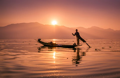 Inle Lake Fisherman, Shan State, Myanmar (syukaery) Tags: trip travel vacation people lake man tourism sunrise asian fisherman asia warm burma sony sigma wanderlust myanmar inle southeast dailylife burmese shanstate humaninterest 19mm a6000