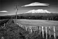 Across The Fence (Darkelf Photography) Tags: mount ruapehu tongariro north island newzealand nz lenticular clouds mono monochrome landscape blackandwhite bw rural country fence volcano canon 24105mm 5div maciek gornisiewicz darkelf photography acrossthefence 2016