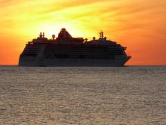 A Brilliant Departure - Fort Desoto Park - Brilliance of the Seas (TropicViking) Tags: orange gulf beach sunset florida fort egmont key cruiseship brillianceoftheseas portoftampa halloween gulfofmexico gulfsunset tampa fortdesotopark egmontkey