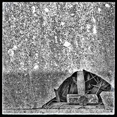 355/366 (jim-green777) Tags: 2016 december 366project wall broken derelict hammer abstract blackandwhite iphone7