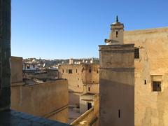 Minaret and medina houses from Riad La Maison Verte, Fez, Morocco (Paul McClure DC) Tags: fez morocco fès almaghrib dec2016 medina feselbali maroc mosque historic architecture