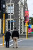 Colourful Banners (Jocey K) Tags: newzealand southisland christchurch cbd architecture buildings people signs street sky christchurchartcentre banners posters trees