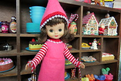10. Fetching Candy Canes (Foxy Belle) Tags: doll christmas dollhouse diorama 16 holiday room scene food bakery kitchen baked goods elf tiny betsy mccall vintage handmade clothes felt pink red white stripes hat