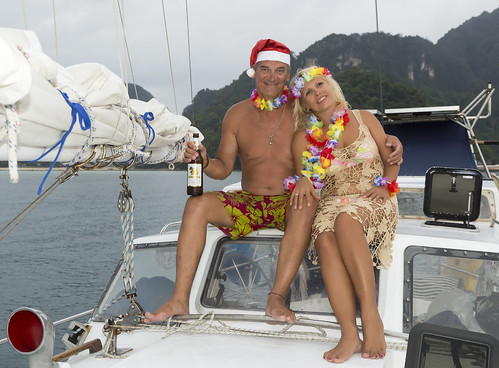New Year of couple at sailing yacht. Phi Phi islands, Thailand