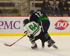 Hit... (R.A. Killmer) Tags: acha hockey action green white hit goal net goalie fast college mercyhurst sru slippery rock ice skate skater