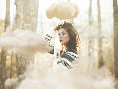 Head In The Clouds (Erica Almquist) Tags: clouds cloud fineart portrait self selfie selfportrait 50mm 35mm nikon conceptual conceptualphotography photography photographer forest tones colors woods glasses sweater woman girl me