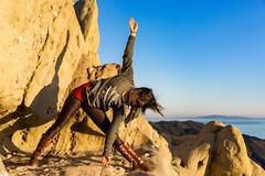 Yoga With A View ((Jessica)) Tags: malibu goldenhour corralcanyon la california losangeles yoga trianglepose ocean view trikonasana yogapose rocks geology