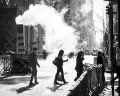 Fifth Avenue (John St John Photography) Tags: fifthavenue 53rdstreet manhattan newyorkcity newyork streetphotography candidphotography steam pedestrians people peopleofnewyork pipe shadow silhouette blackandwhite blackwhite bw outdoor