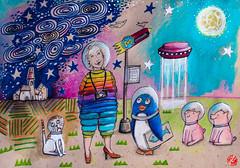 ...der Ausflug (bornschein) Tags: illustration mixedmedia moleskine marker me animal penguin pig cat women wacky sky moon stars rainbow