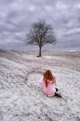 Lady in (infra)red (antoniopedroni photo) Tags: lady ladyinred infrarosso infrared rosso red albero tree alberello ir720nm sogno dream