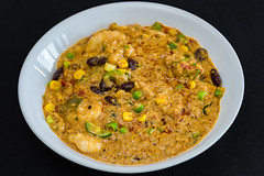 Curry prawns with couscous and quinoa (garydlum) Tags: redchillies prawns chilliflakes coconutcream springonion jalapeñopeppers corn quinoa couscous peas curry belconnen beans rice canberra pearlbarley chillies