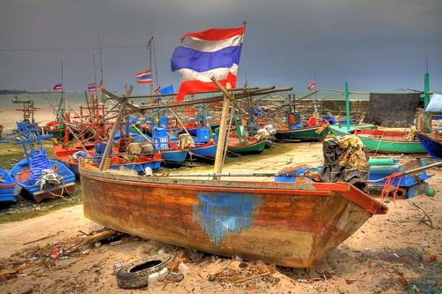 Boat on beach Hua Hin HDR