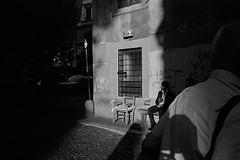 Trastevere (varjagg) Tags: street leica shadow italy man rome june 35mm wine kodak trix 400tx 150 summicron 400 f2 18 rodinal sipping m4 v4 2015 ei200 preasph sharpp