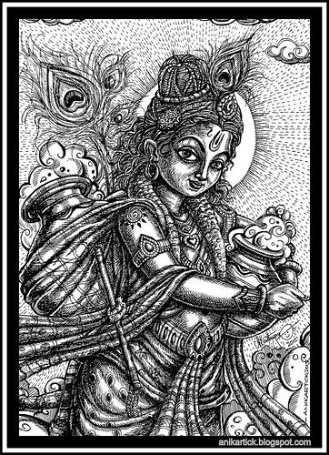 Little Krishna takes the clouds of butter Pot-Anikartick Artist