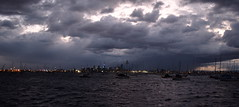 Stormy dawn (brent.henriksen) Tags: ocean city sea sky storm cold water weather clouds dark boats dawn bay waves australia melbourne victoria williamstown hobsonsbay nikond3300