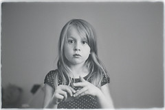 Madde - my daughter (minipicquick) Tags: leica portrait bw white black girl monochrome zeiss 35mm 50mm kid big eyes nikon open serious kodak tmax tubes daughter wide slide scan 400 carl f2 extension pushed nikkor dslr 800 m6 bower copier planar d800 zm kenko f18d