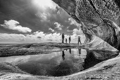 Catching waterdrops (Tommy Høyland) Tags: ocean sea sky blackandwhite bw mountain ice nature water norway iceage clouds standing wonderful giant walking wonder landscape person norge amazing view angle hole outdoor horizon wide visit tourist hike fisheye pot kettle level noruega fujifilm cave giants 8mm broad cauldron bnw magnificent humans attraction pothole norvege fock blackandwhitephoto flekkefjord samyang norvegen jettegryte xt1 brufjell