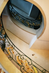 Gilded spiral (Tiigra) Tags: berlin germany de 2015 architdetail ornament spiral stairs lattice