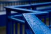 Wuppertal-Beyenburg: The bridge across the barrier lake (wwwuppertal) Tags: wuppertal beyenburg wuppertalbeyenburg bergischesland nrw nordrheinwestfalen northrhinewestphalia stausee barrierlake reservoir sonyalpha6000 sonyilce6000 sigma60mmf28dn|art shallowdepthoffield blau blue abstraktion abstraction geländer railing bridge brücke regentropfen raindrops raindrop zickzack zigzag