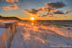 Lake Michigan ... winter remembered (Ken Scott) Tags: sunset snow fence whalebackpoint pyramidpoint breakers wind beach leelanau michigan usa 2017 january winter 45thparallel hdr kenscott kenscottphotography kenscottphotographycom freshwater greatlakes lakemichigan