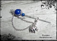 DSCN9325mod (Margherita-art) Tags: brooch brooches blue handmade copper silver plated elephant chain agate jewel jewels jewelry little elegant luck fantasy gothyc
