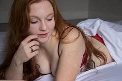 Caitlyn (austinspace) Tags: woman portrait spokane washington bedroom redhead naturallight sheet nude victoriassecret underwear bra panties