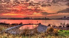 Zeeburg Sunset (Skylark92) Tags: nederland netherlands holland amsterdam oost east zeeburg zeeburgereiland rijnkanaal sunset zonsondergang water hdr