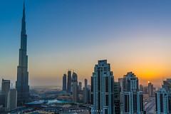 Sunrise in Dubai (Ben Zavala) Tags: 2016 benzavala bluehour burjkhalifa city citylights dawn dubai dxb sky skyline skyscrapers sonya7 sunrise