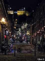 ... (Jean S..) Tags: buildings windows night evening lights street snow winter outdoor québec old yellow blue red