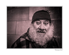Secret Santa (Paul Compton (PDphotography)) Tags: battleofnantwich nanatwichevents portrait man face street smile suprise shock happy nantwich town monochrome mono