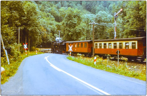 Harzquerbahn an der  B81 (Eisfelder Talmühle) - 1983