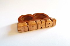 2 Finger Ring in Birdseye Maple and Mesquite Woods (DustyNewt Scott) Tags: earrings wood wooden woodworking jewelry handmade ring 2finger sokai mesquite birseye maple knuckle