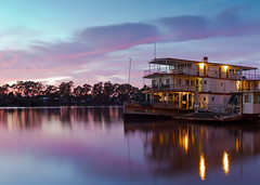 The PS Marion at sunrise (Trace Connolly) Tags: australia australian australiasouthaustralia blue canon canon7d clouds cloudsstormssunsetssunrises dawn exposure flickr gold holiday housebout landscape longexposure light landscapephotography mannum murrayriver midmurray rivermurray orange red pink bluehour bluesky sigma sunrise sigma1750f28exdcoshsm sigma1750mm timeexposure tree trees contrast golden bright boat windows water sky white green sun summer yellow river new