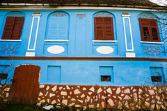 Blue facade (Raoul Pop) Tags: arches architecture blue columns facade fall historic house motifs painted relief saxon white windows moardas transilvania romania ro structure