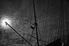 Abendsonne (RadarO´Reilly) Tags: bw sun clouds blackwhite ship harbour wolken sw mast hafen passat sonne ostsee segelschiff rigging schiffe sailingship travemünde seefahrt seafaring takelage masten schwarzweis