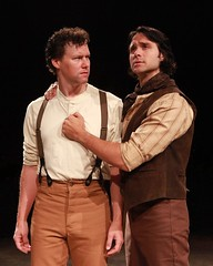 """Kevin Earley (left) as Jud Fry and Jeremiah James as Curly in the 2010 Music Circus production of """"Oklahoma!"""" at the Wells Fargo Pavilion July 27-August 1.  Phot by Charr Crail."""