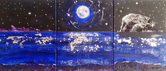 ED Moonlicht Nicht triptych 40cmH by 91cmW Acrylic and mixed media on canvas 2013 (Stars&Stems) Tags: seascape scotland originalpainting northberwick bassrock eastlothian abstractseascape
