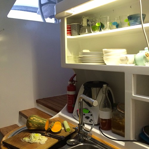 View of the kitchen from near fridge looking up