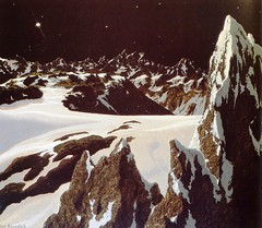 "The surface of Pluto. Art by Chesley Bonestell for ""The Conquest of Space"" (1949) (lhboudreau) Tags: snow art illustration painting artist paintings illustrations planet planets pluto outerspace 1949 solarsystem spaceart chesley snowpeaks dwarfplanet chesleybonestell conquestofspace outerplanet bonestell outerplanets spaceartist 9thplanet vintagespaceart surfaceofpluto plutossurface ninthplanet theninthplanet the9thplanet"