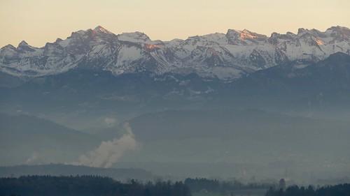 Panoramic view on Swiss Alps Switzerland