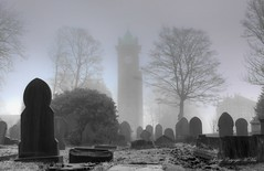 Clock tower through the fog. (nondesigner59) Tags: lindleyclocktower huddersfield westyorkshire fog mist archives graveyard copyrightmmee eos50d nondesigner nd59