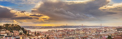 Lisbon's winter shades (Pietro Faccioli) Tags: afternoon evening winter autumn belvedere bridge city downtown lisbon miradouro oldtown panorama panoramic portugal river sky sun sundown sunset tagus tejo town urban view houses roofs cristorei clouds pastel pietrofaccioli faccioli pietro